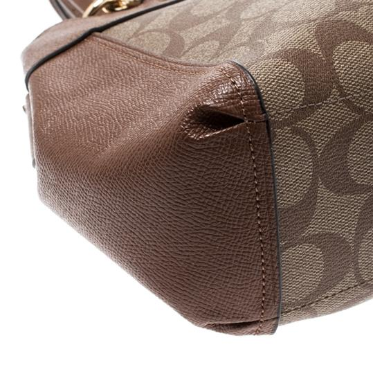 Coach Signature Canvas Leather Satchel in Brown Image 9