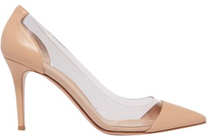 Gianvito Rossi Plexi 85mm Pvc Beige Leather Pumps