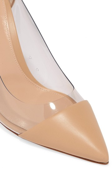Gianvito Rossi Plexi 85mm Pvc Beige Leather Pumps Image 2