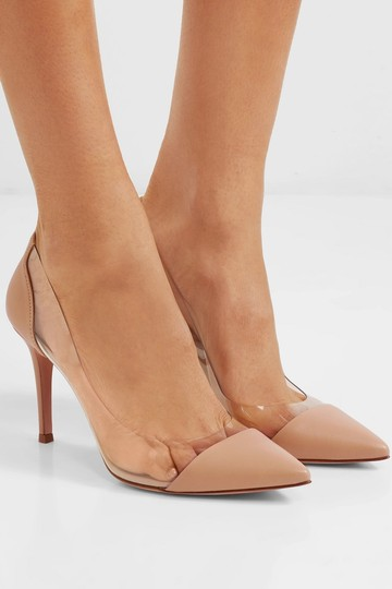 Gianvito Rossi Plexi 85mm Pvc Beige Leather Pumps Image 4