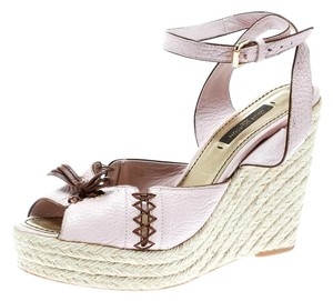 Louis Vuitton Leather Ankle Strap Wedge Pink Sandals