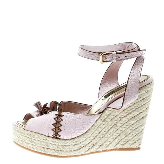 Louis Vuitton Leather Ankle Strap Wedge Pink Sandals Image 1