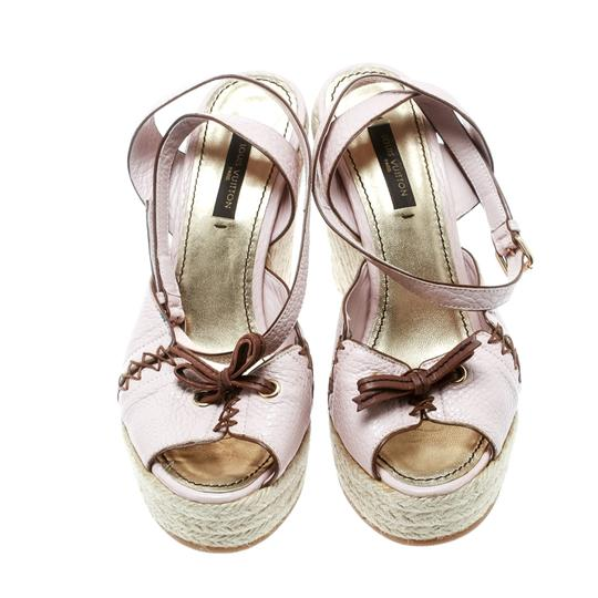 Louis Vuitton Leather Ankle Strap Wedge Pink Sandals Image 2