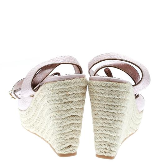 Louis Vuitton Leather Ankle Strap Wedge Pink Sandals Image 3