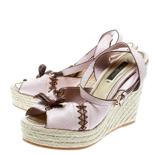 Louis Vuitton Leather Ankle Strap Wedge Pink Sandals Image 4