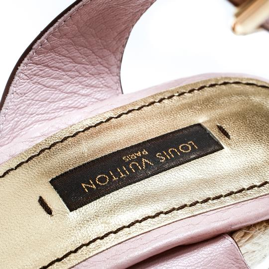 Louis Vuitton Leather Ankle Strap Wedge Pink Sandals Image 5