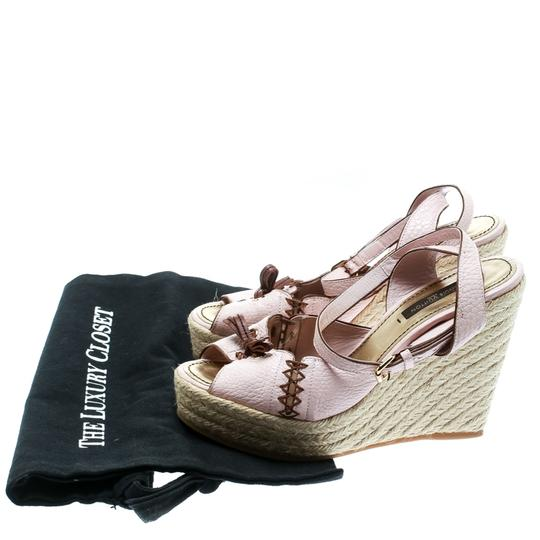 Louis Vuitton Leather Ankle Strap Wedge Pink Sandals Image 7