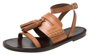 Burberry Leather Tassels Detail Brown Flats