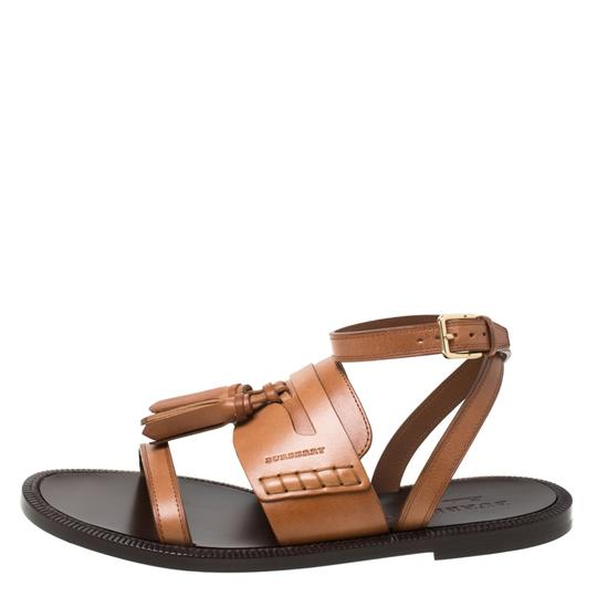 Burberry Leather Tassels Detail Brown Flats Image 1