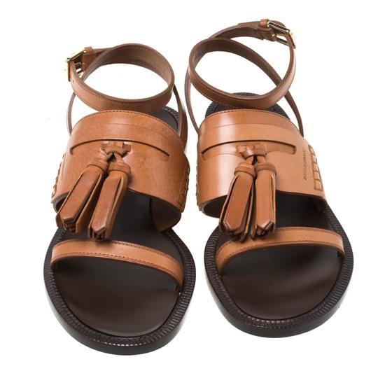 Burberry Leather Tassels Detail Brown Flats Image 2