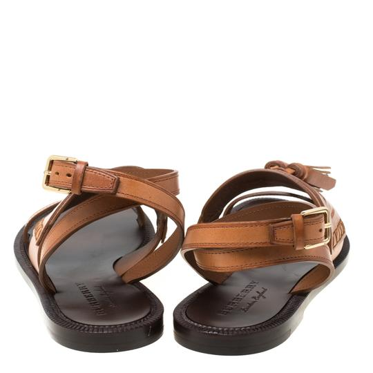 Burberry Leather Tassels Detail Brown Flats Image 3
