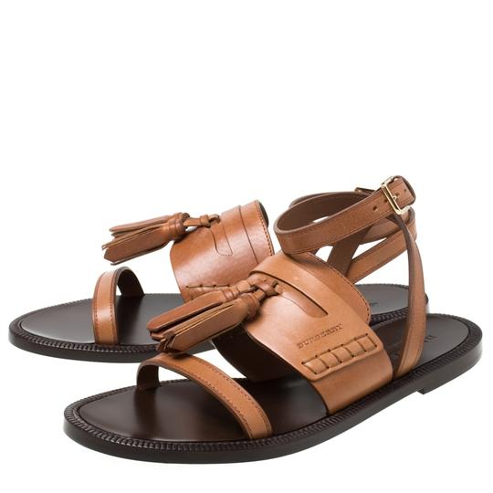 Burberry Leather Tassels Detail Brown Flats Image 4