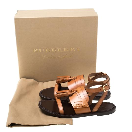 Burberry Leather Tassels Detail Brown Flats Image 7