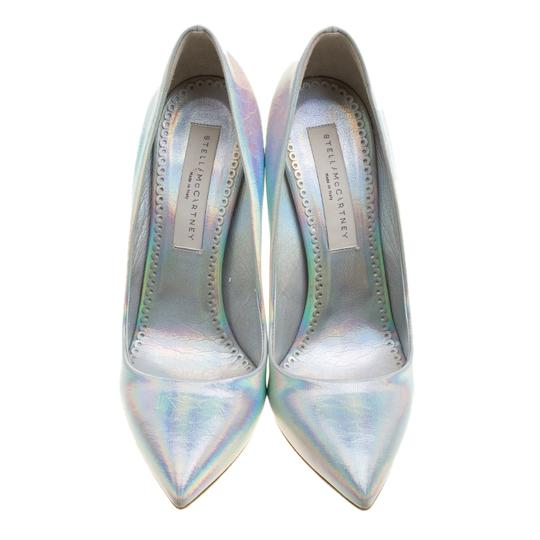 Stella McCartney Silver Faux Leather Pointed Toe Metallic Pumps Image 2