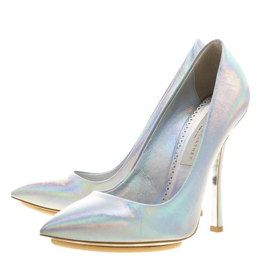 Stella McCartney Silver Faux Leather Pointed Toe Metallic Pumps Image 3