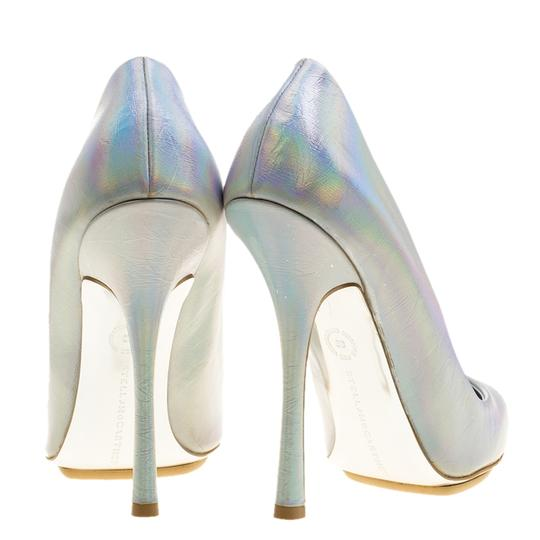 Stella McCartney Silver Faux Leather Pointed Toe Metallic Pumps Image 4