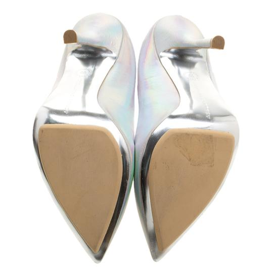 Stella McCartney Silver Faux Leather Pointed Toe Metallic Pumps Image 5
