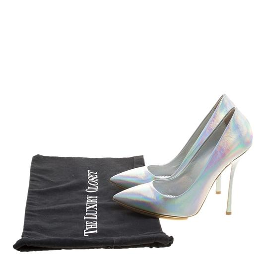 Stella McCartney Silver Faux Leather Pointed Toe Metallic Pumps Image 7