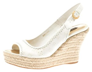 Louis Vuitton Denim Monogram Patent Leather Espadrille Slingback White Sandals