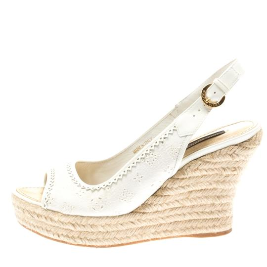 Louis Vuitton Denim Monogram Patent Leather Espadrille Slingback White Sandals Image 1