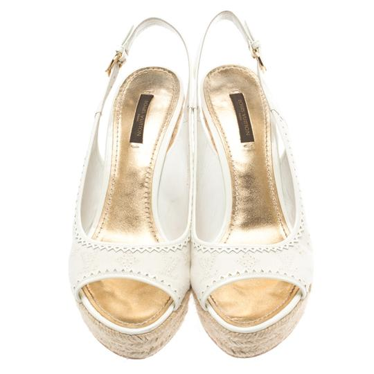 Louis Vuitton Denim Monogram Patent Leather Espadrille Slingback White Sandals Image 2