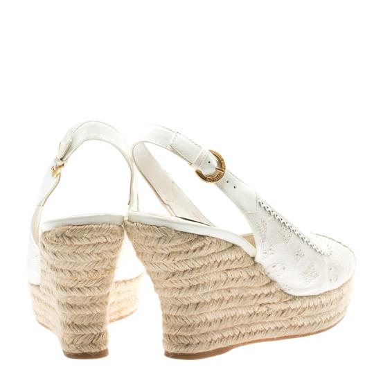 Louis Vuitton Denim Monogram Patent Leather Espadrille Slingback White Sandals Image 3