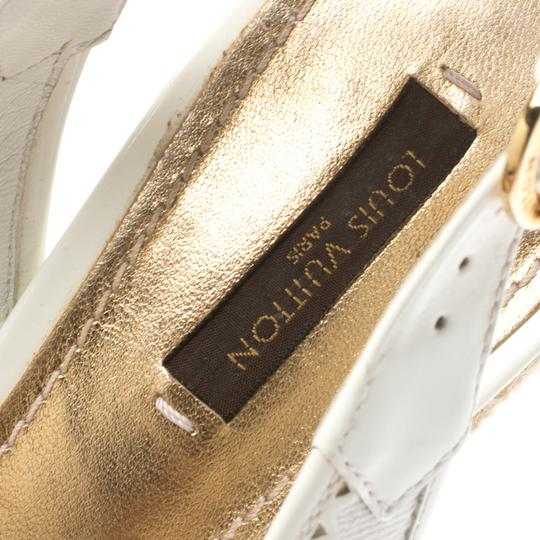 Louis Vuitton Denim Monogram Patent Leather Espadrille Slingback White Sandals Image 5