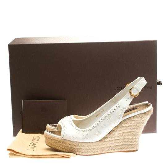Louis Vuitton Denim Monogram Patent Leather Espadrille Slingback White Sandals Image 7