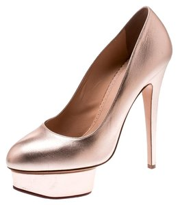 Charlotte Olympia Leather Gold Platform Metallic Pumps