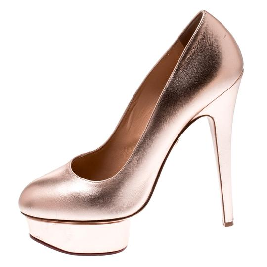 Charlotte Olympia Leather Gold Platform Metallic Pumps Image 1