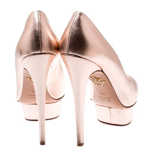 Charlotte Olympia Leather Gold Platform Metallic Pumps Image 3