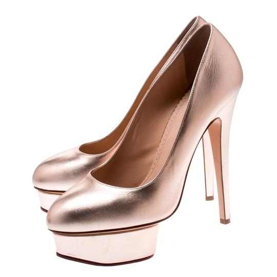 Charlotte Olympia Leather Gold Platform Metallic Pumps Image 4