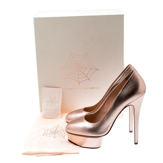 Charlotte Olympia Leather Gold Platform Metallic Pumps Image 7
