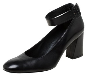 Stuart Weitzman Leather Ankle Strap Black Pumps