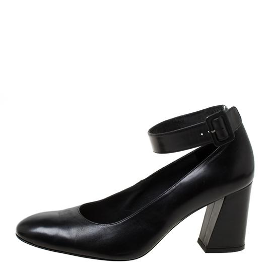 Stuart Weitzman Leather Ankle Strap Black Pumps Image 1