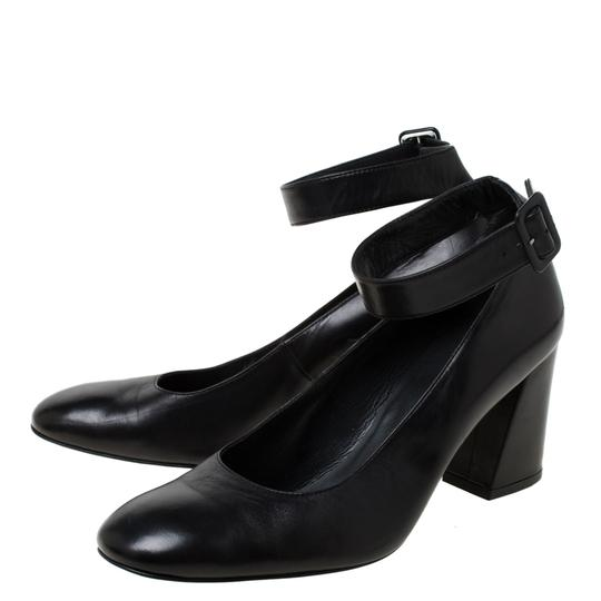 Stuart Weitzman Leather Ankle Strap Black Pumps Image 4