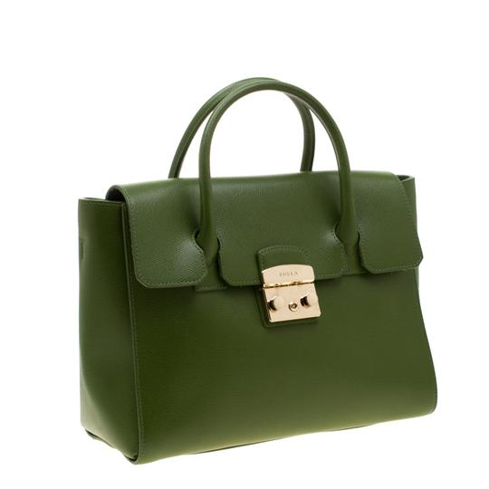 Furla Leather Green Clutch Image 4
