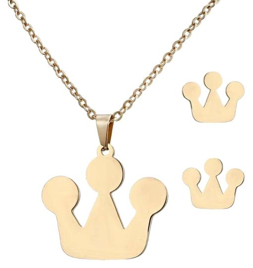 Preload https://img-static.tradesy.com/item/25957799/gold-stainless-steel-and-earrings-crown-shape-necklace-0-1-540-540.jpg
