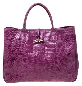 Longchamp Leather Tote in Purple