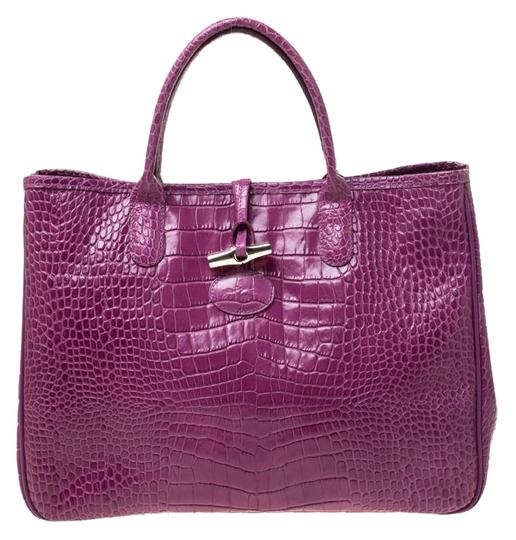 Preload https://img-static.tradesy.com/item/25957813/longchamp-croc-embossed-roseau-purple-leather-tote-0-1-540-540.jpg
