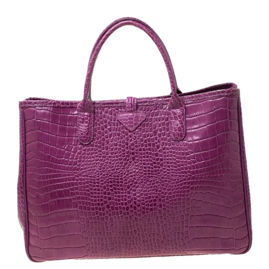 Longchamp Leather Tote in Purple Image 1