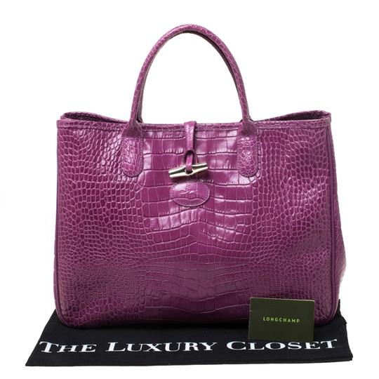 Longchamp Leather Tote in Purple Image 10