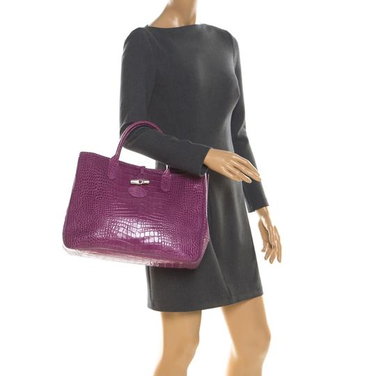 Longchamp Leather Tote in Purple Image 2