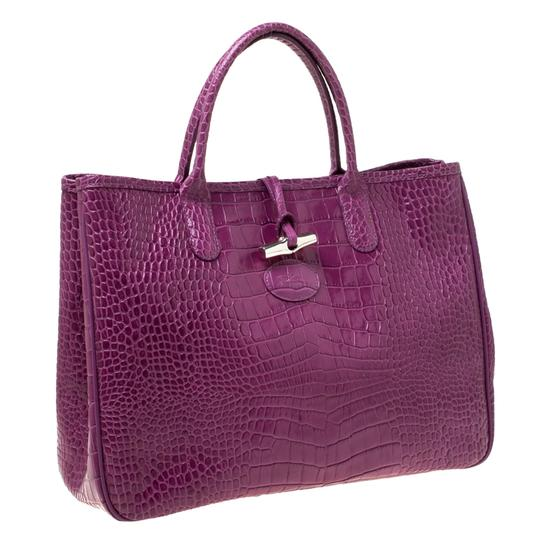 Longchamp Leather Tote in Purple Image 3