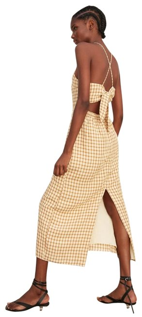 Item - Brown Plaid Checkered Bow Tied Mid-length Casual Maxi Dress Size 8 (M)