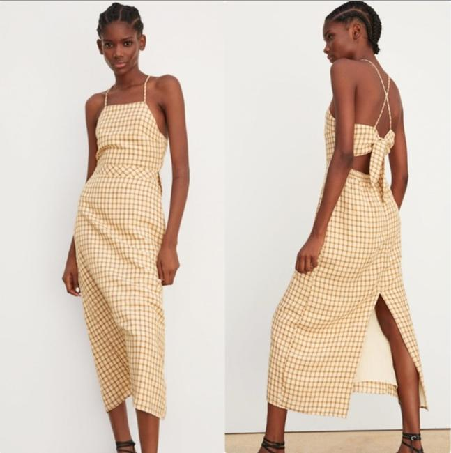 brown Maxi Dress by Zara Racer-back Halter Backless Elastic Waist Tan Image 4