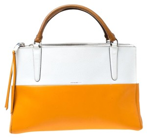 Coach Leather Retro Tote in White