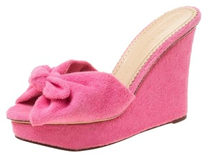 Charlotte Olympia Wedge Terry Cloth Pink Sandals