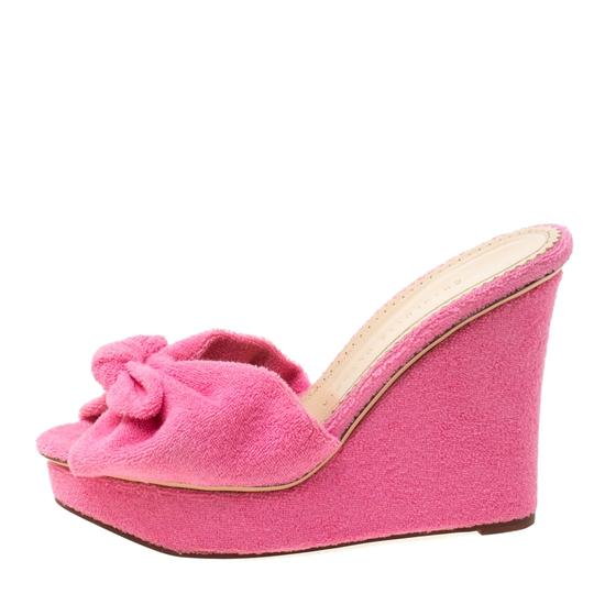 Charlotte Olympia Wedge Terry Cloth Pink Sandals Image 1