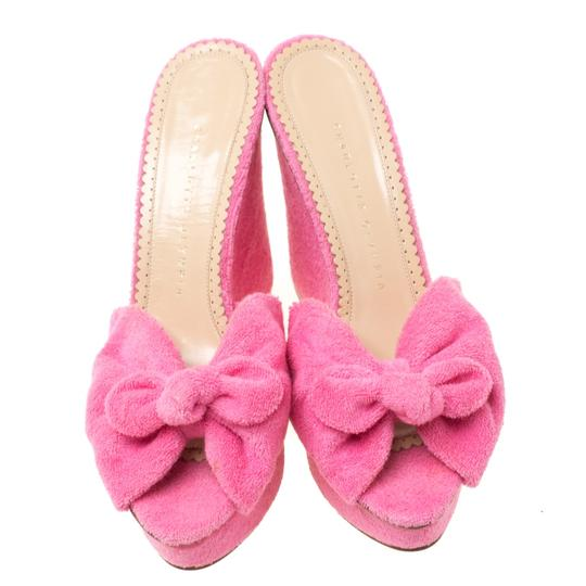 Charlotte Olympia Wedge Terry Cloth Pink Sandals Image 2